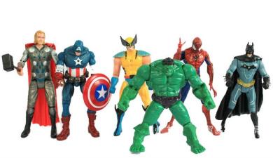 "The Avengers 5"" Captain America Wolverine Thor Spiderman Batman 14cm Action Figures Toy Set Of 6"