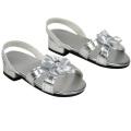 Silver 46cm Doll High Heels, Fits 46cm American Girl Dolls & More! Doll Shoe Heels W/ Flower & Jewel.