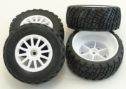 1/10 Rally 4WD * WHITE 12mm WHEELS & tyres *rims (drive shaft nuts) Traxxas 7407