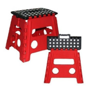 Easy Life Carry Folding Step Stool / Seat With Anti-Slip Surface 33cm For Kids Works Home - Red/Black