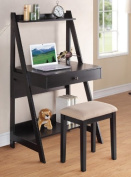 Writing Desk and Stool w/Black Colour Finish Pine Wood by Poundex