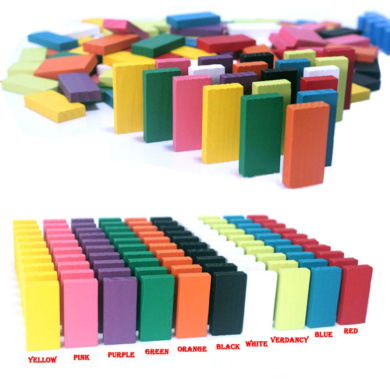 NuoYa001 NEW 120PCS 12 Colours Authentic Standard Wooden Domino Run Board Toy Children