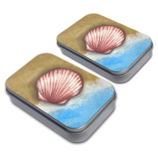 Pastel Seashell Ocean Beach Vacation Decorative Craft Trinket Metal Tin Box Set of 2
