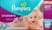 Pampers Cruisers Size 3 Huge Box 140 Nappies 16-28 Pounds