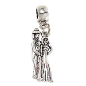 "Jewellery Monster Dangling ""Husband and Wife"" Charm Bead for Snake Chain Charm Bracelets 35357"