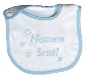 Raindrops Heaven Sent Embroidered Bib, Blue