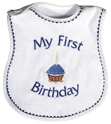 Raindrops My First Birthday Embroidered Bib, Royal Blue