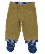 Tucker'd Tan Corduroy Infant Pants w/Attached Blue Socks 0-3mth