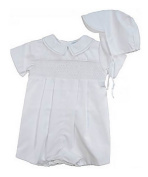 Newborn Baptism Blessing Smocked Embroidered Christening Romper Outfit For Boys