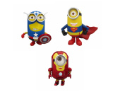 "3pcs/set Despicable Me 2captain America Superman And Iron Man Minions 8"" 20cm Gifts For Kids"