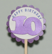 All About Details 10th Birthday Shimmer Purple Cupcake Toppers, Set of 12
