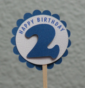 All About Details 2nd Birthday Shimmer Blue Cupcake Toppers, Set of 12