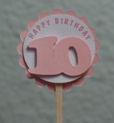 All About Details 10th Birthday Shimmer Pink Cupcake Toppers, Set of 12