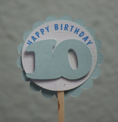 All About Details 10th Birthday Shimmer Light Blue Cupcake Toppers, Set of 12