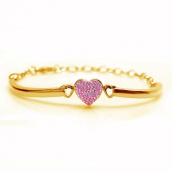 Kids Pink Heart 14k Yellow Gold Plated Bangle Bracelet Set on a Clay Base Kids, Children,Baby,Girls