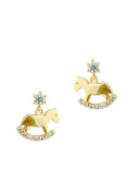 Unicornj 14K Yellow Gold Rocking Horse Earrings with Cubic Zirconia Stud Post Kids & Children