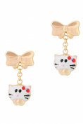 Unicornj 14K Yellow Gold Bow Earrings with Enamelled Kitty Dangle Kids & Children