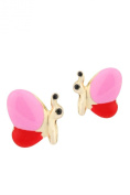 Unicornj 14K Yellow Gold Butterfly Side Stud Earrings Enamelled Pink and Red Kids & Children