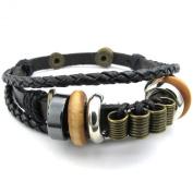 KONOV Jewellery Mens Womens Leather Bracelet, Braided Tribal Charms Wrap, Black