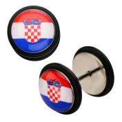 Inox World Cup Crotia Stainless Steel Fake Plug Earrings