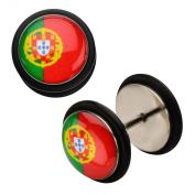 Inox World Cup Portugal Stainless Steel Fake Plug Earrings