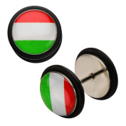 Inox World Cup Italy Stainless Steel Fake Plug Earrings