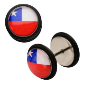 Inox World Cup Chile Stainless Steel Fake Plug Earrings