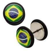 Inox World Cup Brazil Stainless Steel Fake Plug Earrings