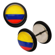 Inox World Cup Columbia Stainless Steel Fake Plug Earrings