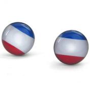 KONOV Jewellery Mens Womens Stainless Steel French Banner France Flag Stud Earrings, Blue White Red