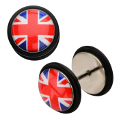 Inox World Cup United Kingdom Stainless Steel Fake Plug Earrings