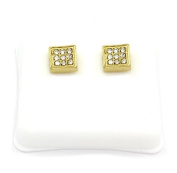 Mens 14k Gold Plated Cz Micro Pave Iced Out Hip Hop Small Square Stud Earrings Bullet Backs