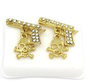 Mens 14k Gold Plated Cz Micro Pave Iced Out Hip Hop Gun with Skull Stud Earrings Bullet Backs
