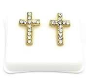 Mens 14k Gold Plated Cz Micro Pave Iced Out Hip Hop Smooth Cross Stud Earrings Bullet Backs