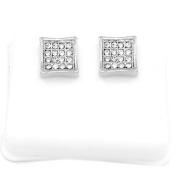 Mens Platinum Plated Cz Micro Pave Iced Out Hip Hop Square Kite Stud Earrings Bullet Backs