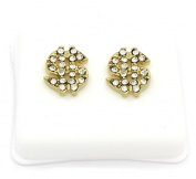 Mens 14k Gold Plated Cz Micro Pave Iced Out Hip Hop Money Sign Stud Earrings Bullet Backs