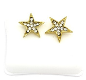 Mens 14k Gold Plated Cz Micro Pave Iced Out Hip Hop Star Stud Earrings Bullet Backs