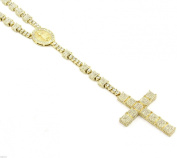 Iced Out 90cm Gold Rosary 3D Box Cube Simulated Diamond Chain Necklace Guadalupe Cross 14K Finish