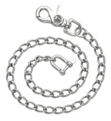 Stainless Steel Twisted Cable Wallet Chain with Skull Trigger Snap Clasp