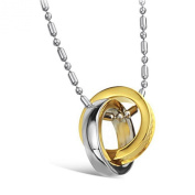 MoAndy Jewellery Titanium Stainless Steel & 18K Gold Plated Lover's Fashion Necklace Neckwear Chains 2 Circular Pendant