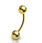 "16g Gold Plated Over Surgical Steel Curved Barbell Eyebrow Ring Body Piercing 16 Gauge 5/16"" 3mm Balls By Eg Gifts"