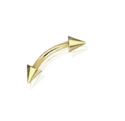 "16g Gold Plated Eyebrow Ring Body Jewellery Piercing 16 Gauge 3/8"" 4mm Spikes By Eg Gifts"