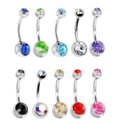 Lot of 10 Double Jewelled Gem Belly Navel Rings 14g 7/16 316l Surgical By Eg Gifts