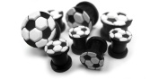1 Pair of 00 Gauge (00G - 10mm) Silicone Soccer Ball Plugs - Double Flare