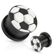 Soccer Ball Top Black Ultra Flexible Silicone Double Flared Plug 1.4cm Sold as a pair