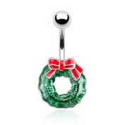 Merry CHRISTMAS (Mele Kalikimaka) Holiday Holly Wreath Belly Button Naval Ring with a Big Red Bow. Enamelled to a glorious shine! 14G * 1cm * 316L Surgical Steel