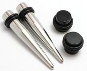 PAIR of 316L Steel Tapers and Black Plugs Ear Stretching Kit gauges gauging plugs CHOOSE 00g-14g