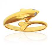 14k Yellow Gold CZ Dolphin Toe Ring Adjustable