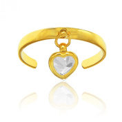 14k Yellow Gold CZ Dangle Heart Toe Ring Adjustable