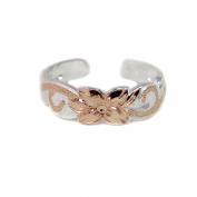 Hawaiian Sterling Silver Rose Gold Vermeil Scroll Toe Ring 6mm